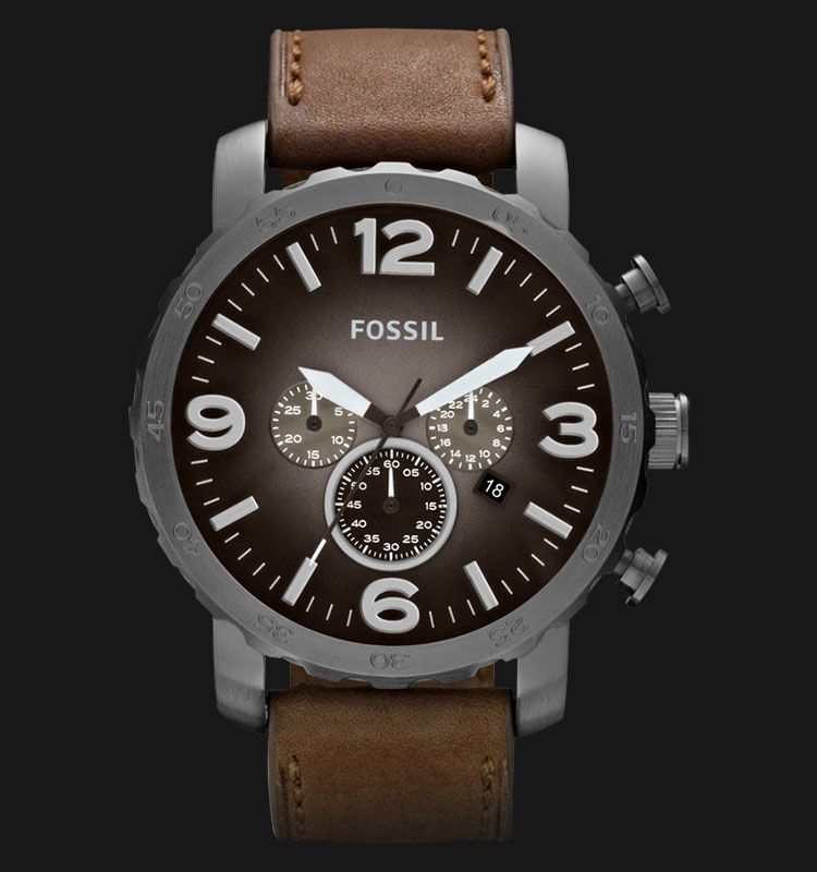 Fossil JR1424 Nate Chronograph Brown Leather Strap Machtwatch