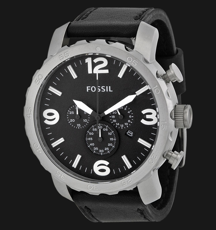 Fossil JR1436 Nate Chronograph Black Leather Strap Machtwatch
