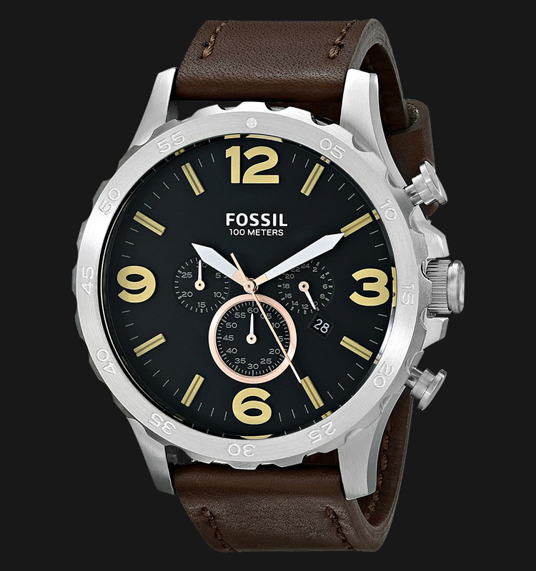 Fossil JR1475 Nate Chronograph Brown Leather Strap Machtwatch