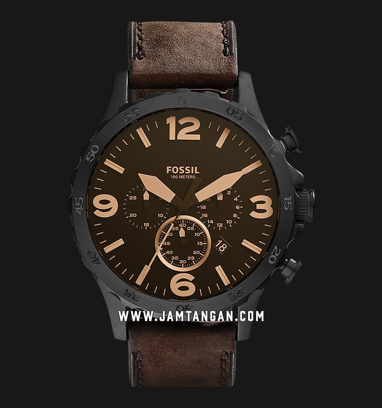 Fossil JR1487 Nate Chronograph Brown Leather Strap Machtwatch
