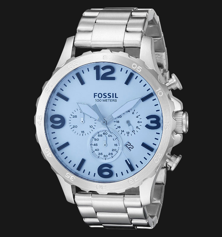 Fossil JR1509 Nate Chronograph Crystal Blue Stainless Steel Machtwatch