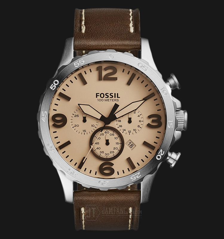 Fossil JR1512 Nate Chronograph Beige Dial Brown Leather Strap Watch Machtwatch
