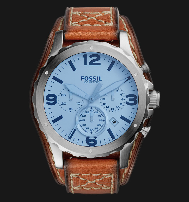 Fossil JR1515 Nate Chronograph Silver Dial Light Brown Leather Strap Watch Machtwatch