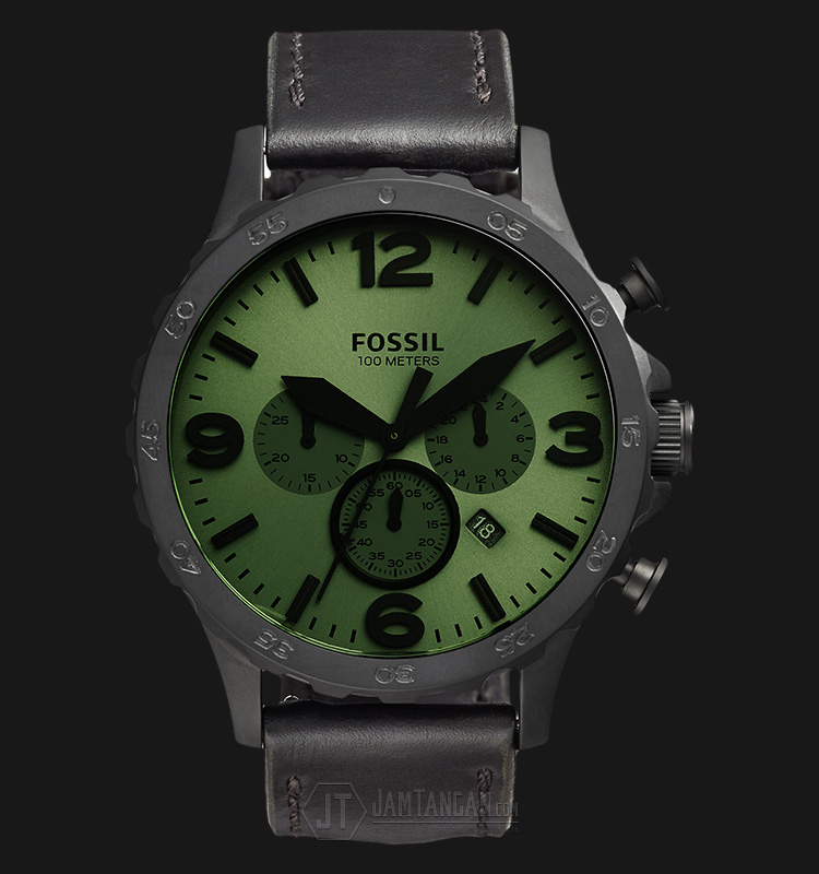 Fossil JR1519 Nate Chronograph Analog Green Dial Black Leather Strap Watch Machtwatch