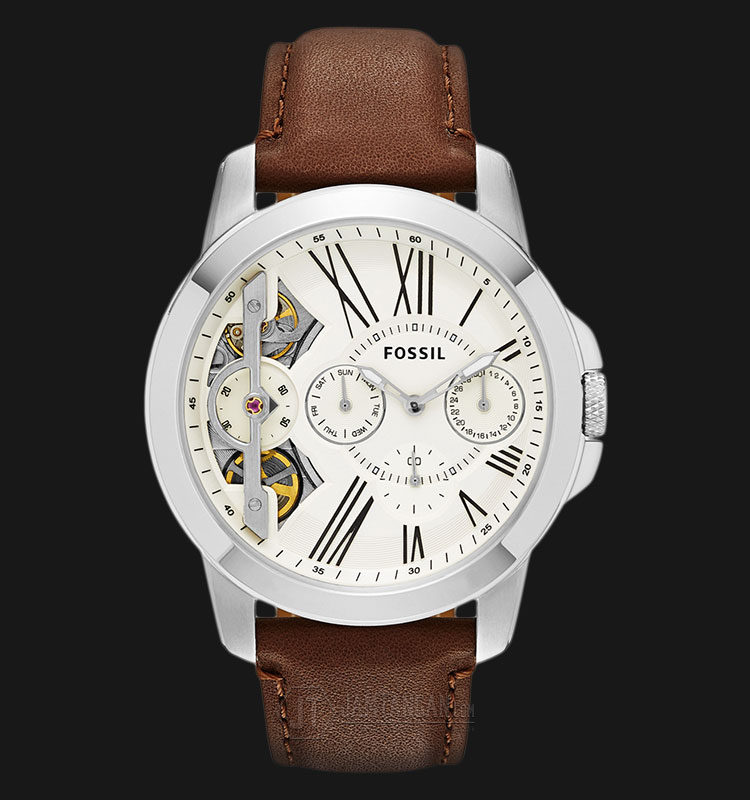 Fossil ME1144 Grant Twist Beige Dial Brown Leather Strap Watch Machtwatch