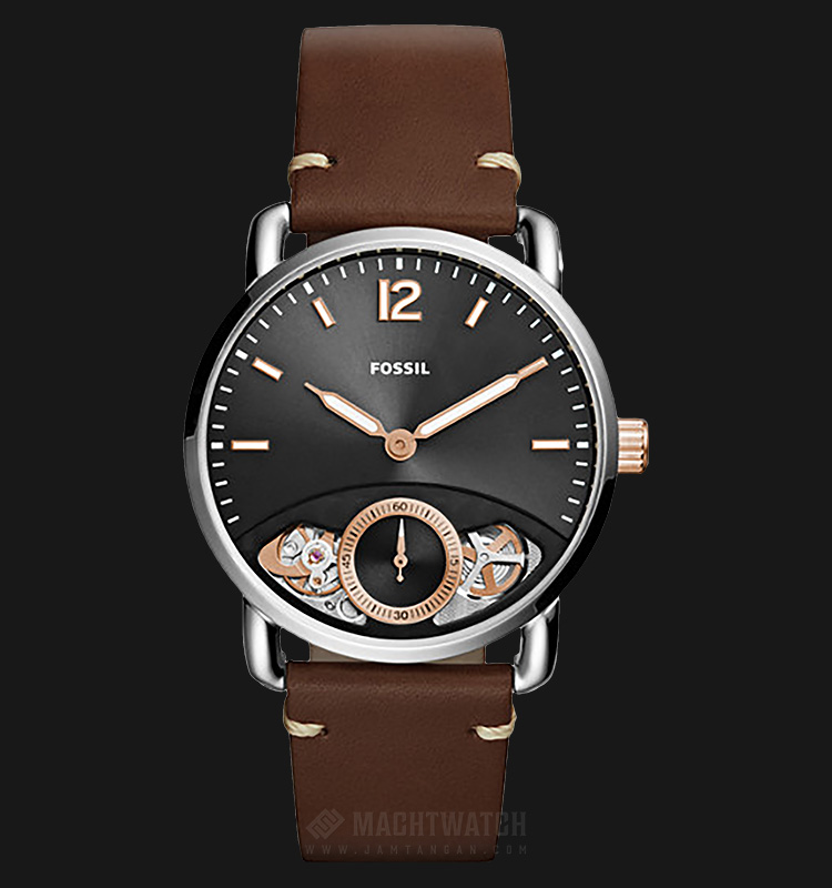 Fossil ME1165 The Commuter Men Black Skeleton Dial Brown Leather Strap Machtwatch