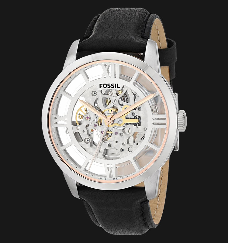 Fossil ME3041 Townsman Automatic Black Leather Strap Machtwatch