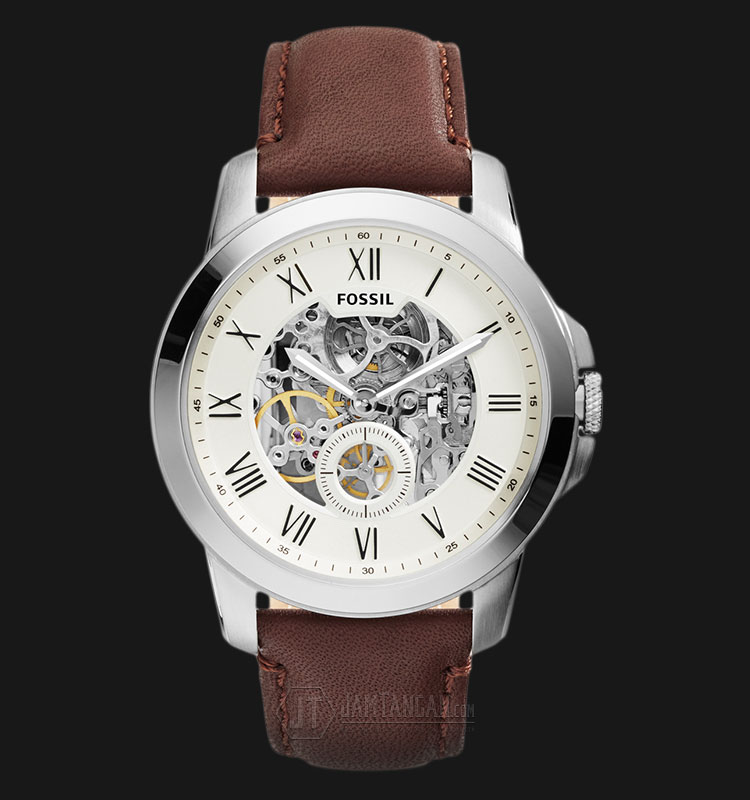 Fossil ME3052 Grant Cream Dial Brown Leather Strap Watch Machtwatch