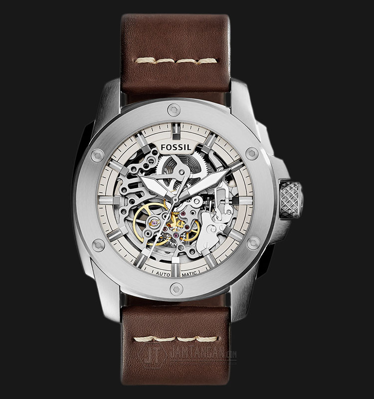 Fossil ME3083 Machine Skeleton Dial Brown Leather Strap Watch Machtwatch