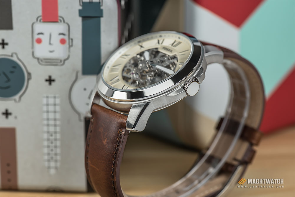 Fossil ME3099 Grant Beige Skeleton Dial Brown Leather Strap Watch Machtwatch