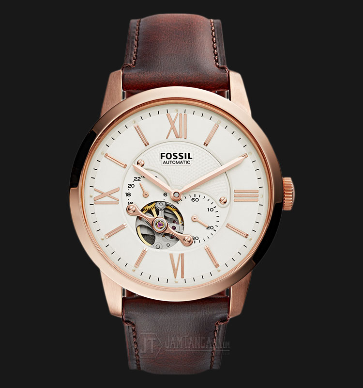 Fossil ME3105 Townsman Beige Dial Brown Leather Strap Watch Machtwatch
