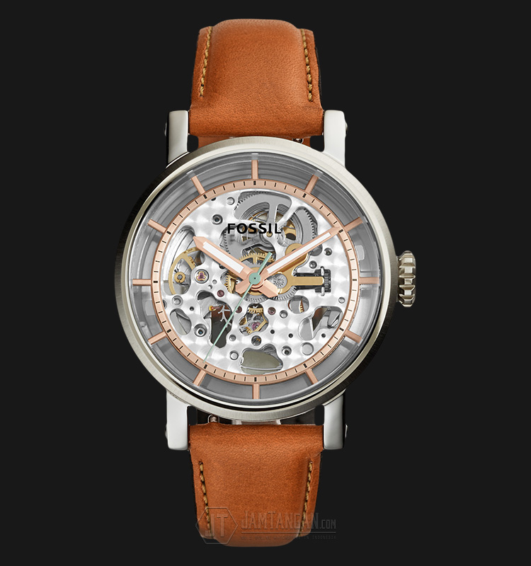 Fossil ME3109 Original Boyfriend Automatic Skeleton Dia Dial Leather Strap Machtwatch