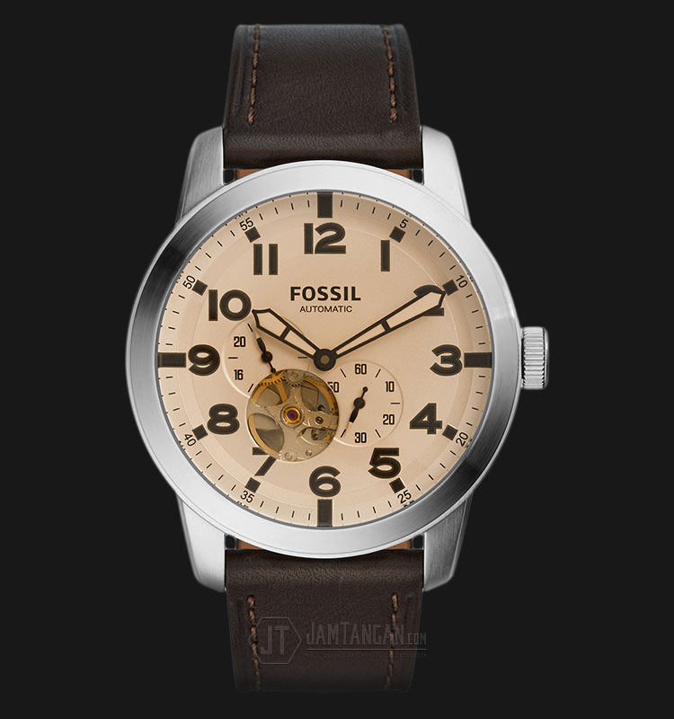 Fossil ME3119 Men Pilot 54 Automatic Silver Dial Brown Leather Strap Machtwatch