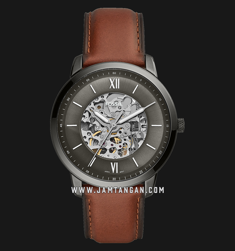 Fossil ME3161 Neutra Automatic Men Skeleton Dial Brown Leather Strap Machtwatch