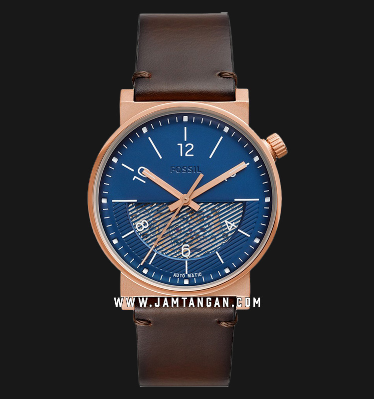 Fossil Barstow ME3169 Men Automatic Blue Skeleton Dial Dark Brown Leather Strap Machtwatch