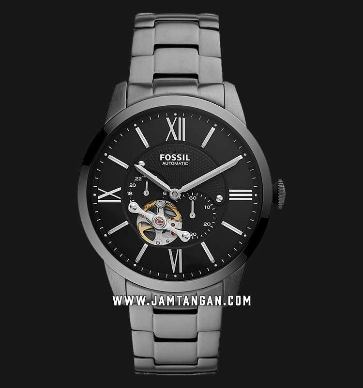 Fossil Townsman ME3172 Automatic Men Black with Open Heart Dial Grey Stainless Steel Strap Machtwatch