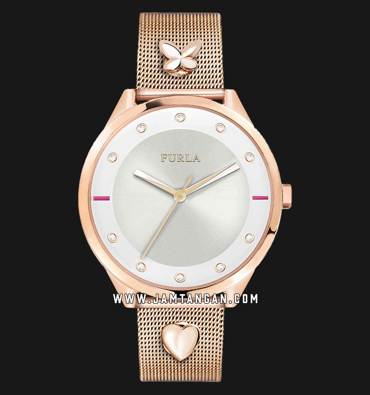 Furla Pin Crystal R4253102525 Ladies Silver Dial Rose Gold Stainless Steel Strap Machtwatch