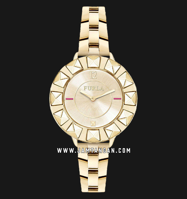 Furla Club R4253109501 Ladies Gold Dial Gold Stainless Steel Strap + Extra Bezel Machtwatch