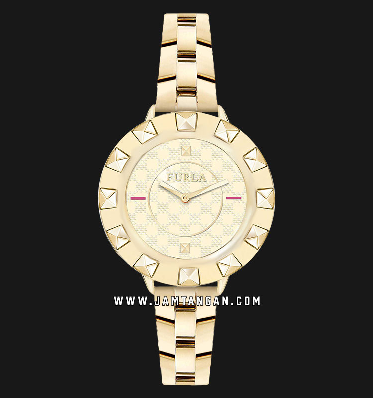 Furla Club R4253109504 Ladies Gold Dial Gold Stainless Steel Strap + Extra Bezel Machtwatch