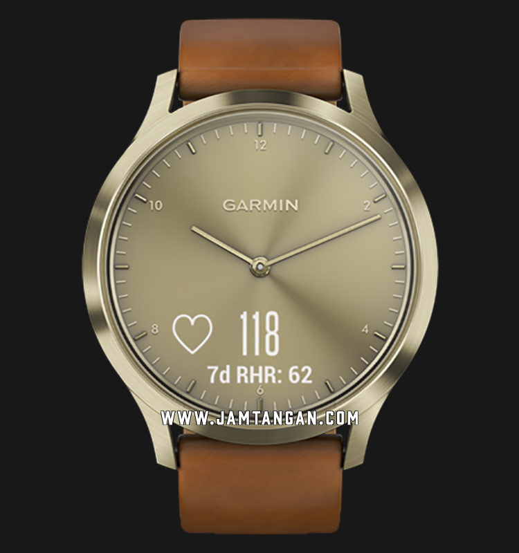 Garmin 010-01850-95 Vivomove HR Premium Gold Dial Brown Leather Strap Machtwatch
