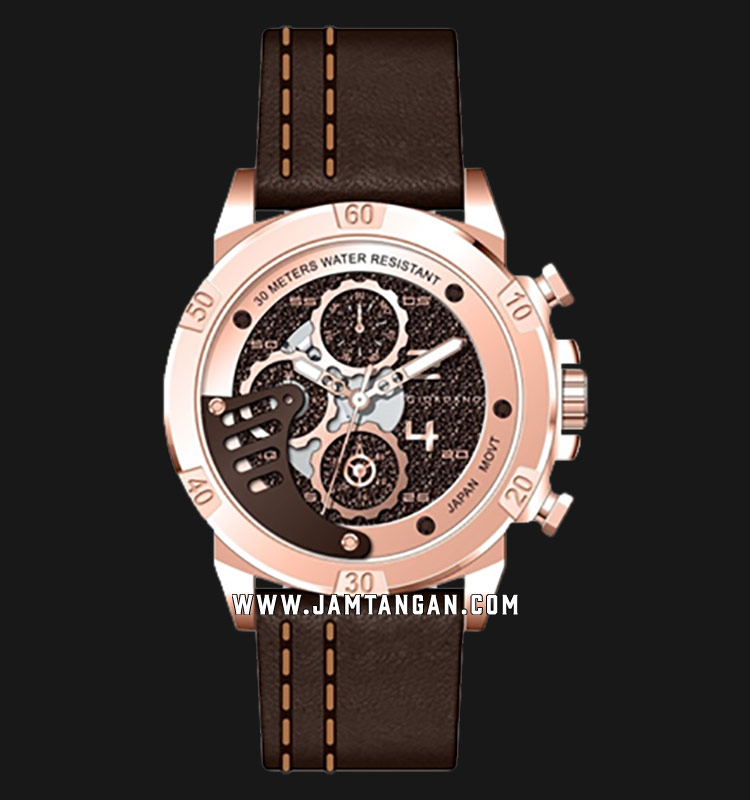 Giordano Industria GD-1160-05 Men Brown Dial Brown Leather Strap