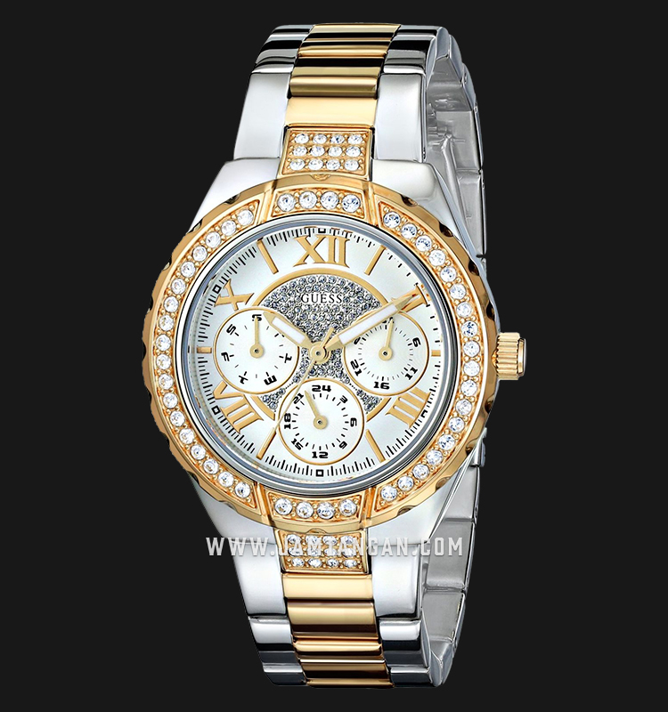 Guess U0111L4 Ladies Sparkling Silver Dial Dual Tone Stainless Steel Machtwatch