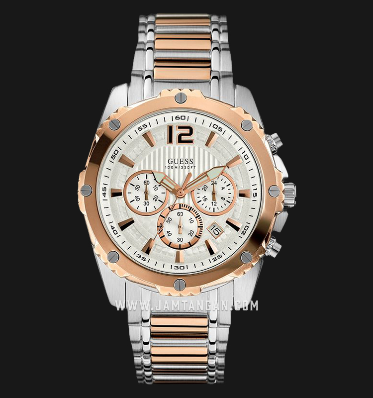 Guess Chronograph U0165G2 Silver Dial Dual Tone Stainless Steel Strap Machtwatch