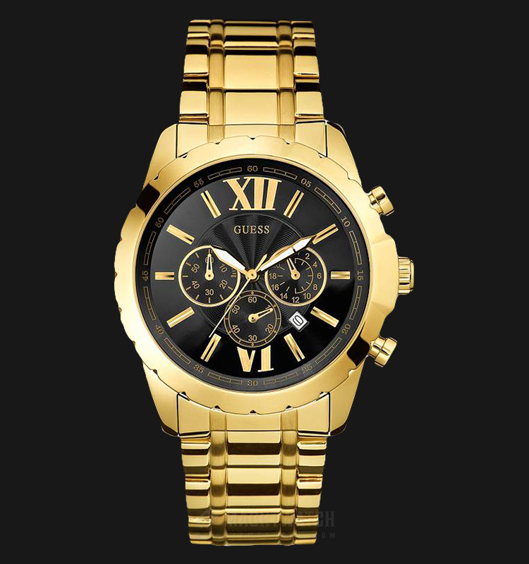 Guess U0193G1 Chronograph Men Black Dial Gold Stainless Steel Strap Machtwatch