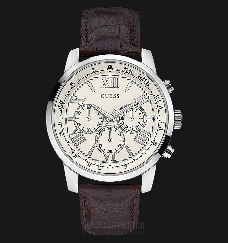 Guess U0380G2 Men Chronograph White Dial Stainless Steel Case Brown Leather Strap Machtwatch