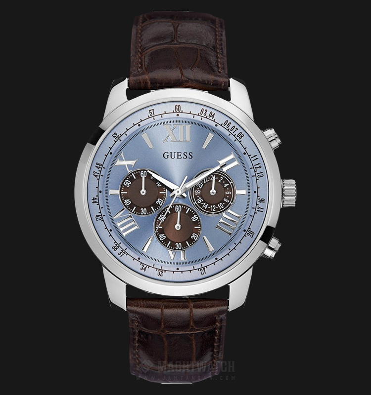 Guess U0380G6 Men Chronograph Blue Dial Stainless Steel Case Brown Leather Strap Machtwatch