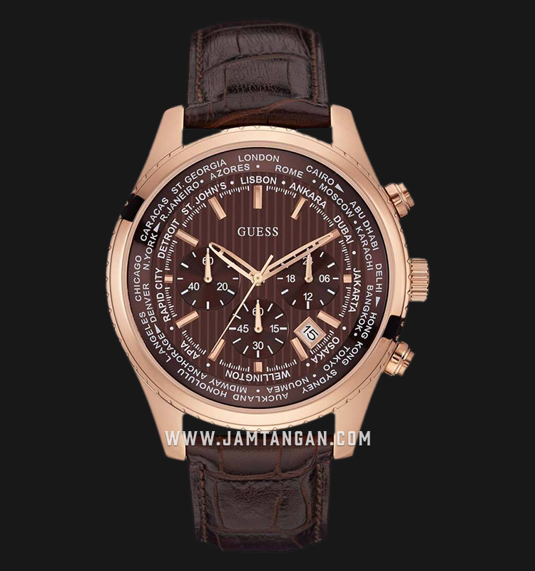 Guess World Time Chronograph U0500G3 Brown Dial Brown Leather Strap Machtwatch