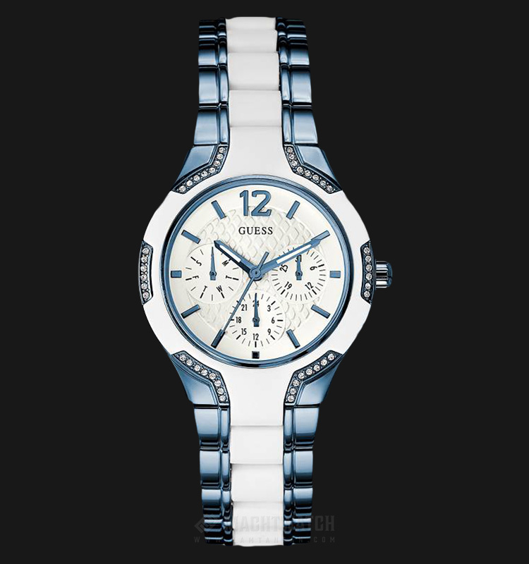 Guess U0556L9 Women Sporty White Dial Blue and White-tone Stainless Steel Machtwatch