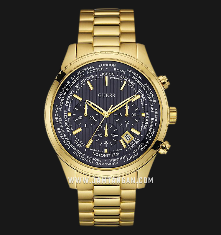 Guess World Time Chronograph U0602G1 Black Dial Gold Stainless Steel Strap Machtwatch