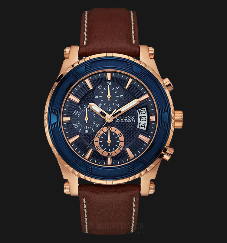 Guess Chronograph U0673G3 Men Blue Dial Brown Leather Strap Machtwatch