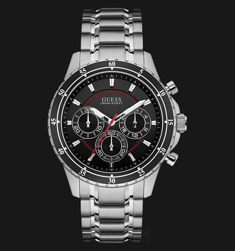 Guess Chronograph U0676G1 Men Black Dial Stainless Steel Strap Machtwatch