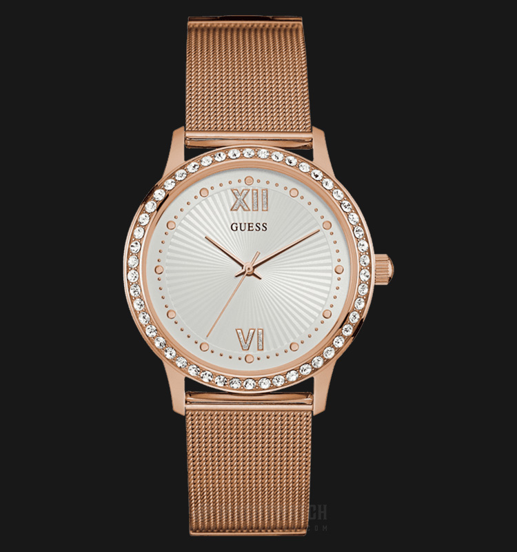 Guess U0766L3 Women Dressy Rose Gold Sunray Dial Stainless Steel G-Link Machtwatch
