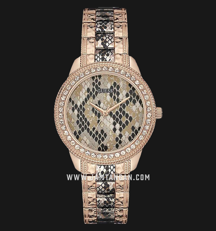 Guess Multi-Function W0624L2 Multicolor Python-printed Dial Rose Gold Stainless Steel Strap Machtwatch