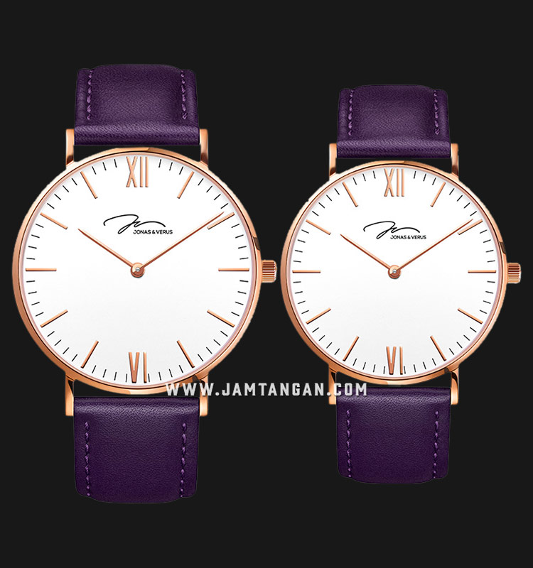 Jonas Verus Y01646-Q3.PPWLX_X01646-Q3.PPWLX Collection Couple White Dial Purple Leather Strap Machtwatch
