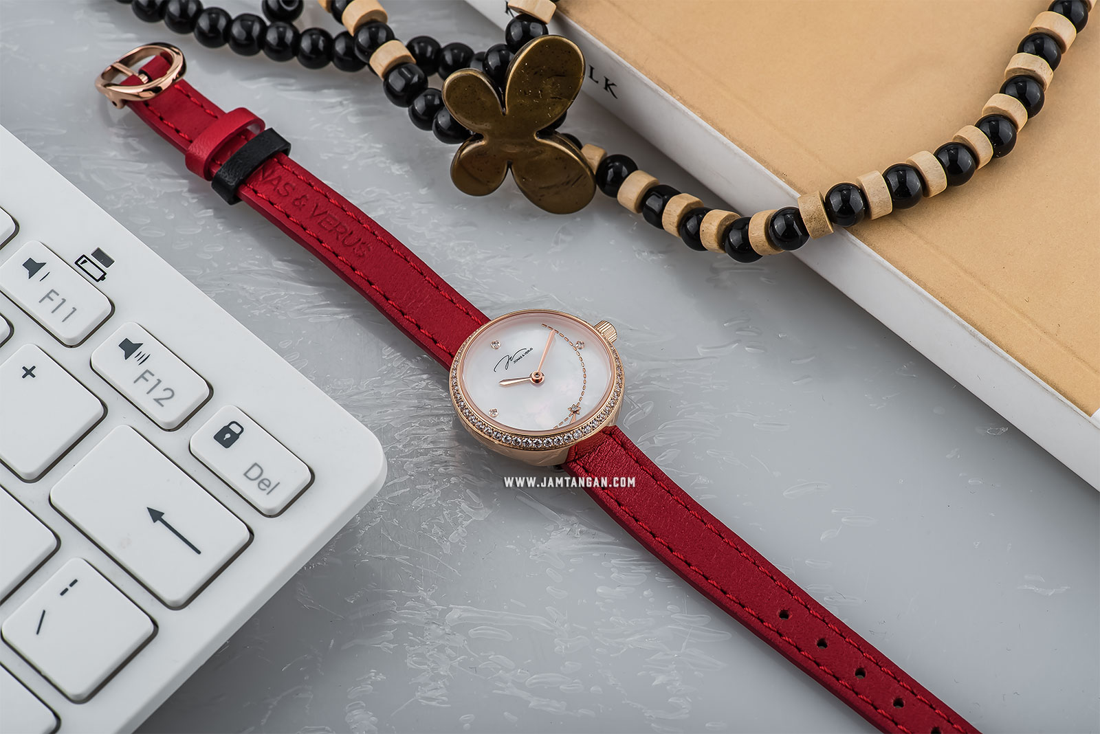 Jonas Verus L25.11.PWLRD Minimalist Collection Ladies Mother of Pearl Dial Red Leather Strap Machtwatch