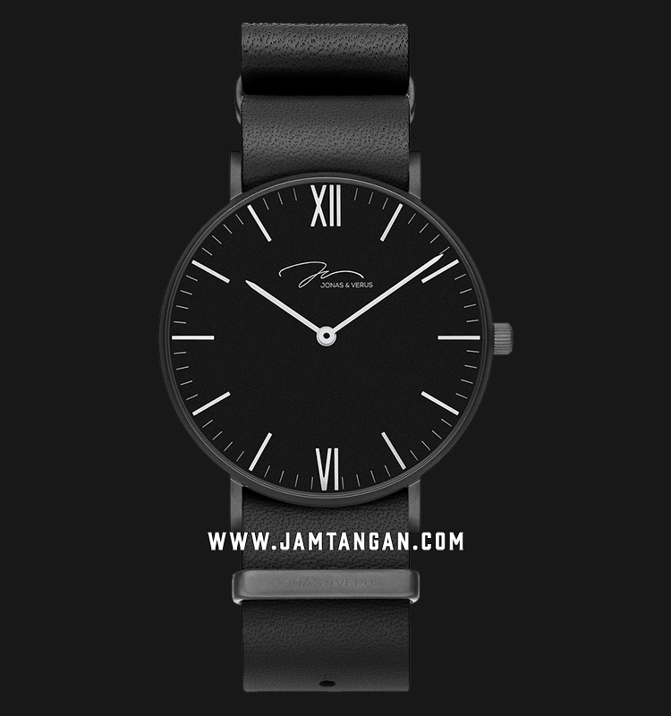 Jonas Verus R40.10.BBLB Minimalist Collection Men Black Dial Black Leather Strap Machtwatch