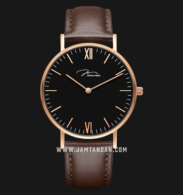 Jonas Verus X01646-Q3.PPBLZ Minimalist Collection Ladies Black Dial Brown Leather Strap Machtwatch