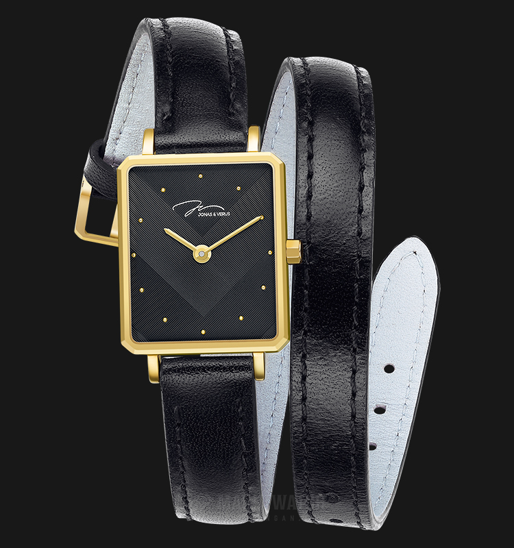 Jonas Verus X02059-Q3.GGHLB Queen Collection Ladies Black Pattern Dial Black Leather Strap Machtwatch