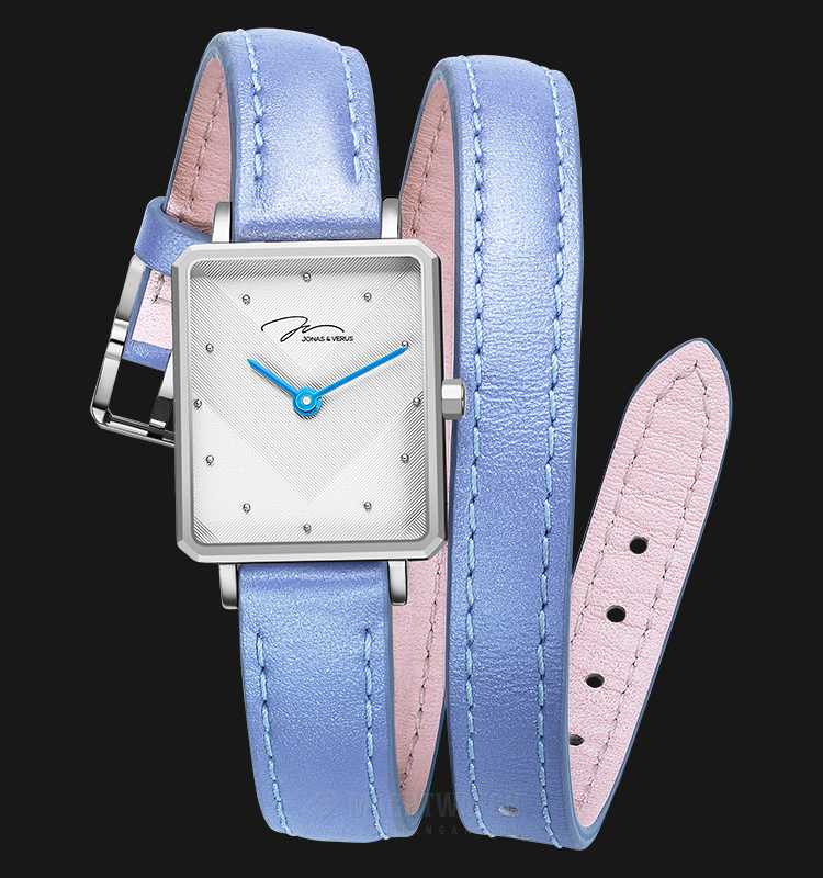 Jonas Verus X02059-Q3.WWWLL Queen Collection Ladies White Pattern Dial Light Blue Leather Strap Machtwatch