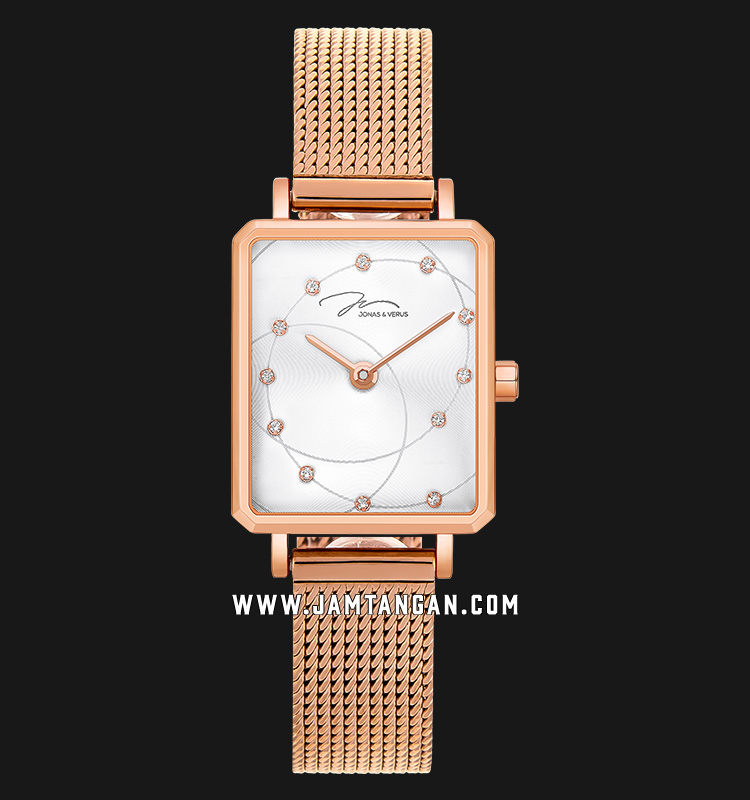 Jonas Verus X02060-Q3.PPWBP Queen Collection Ladies White Dial Rose Gold Stainless Steel Machtwatch