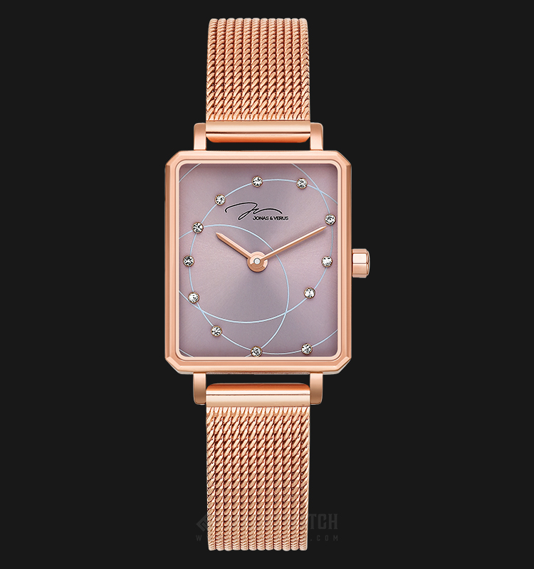 Jonas Verus X02060-Q3.PPXBP Queen Collection Ladies Brown Sunray Dial Rose Gold Stainless Steel Machtwatch