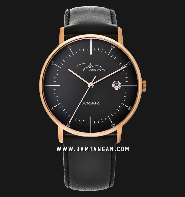 Jonas Verus Y01562-A0.PPBLB Minimalist Collection Automatic Man Black Dial Black Leather Strap Machtwatch
