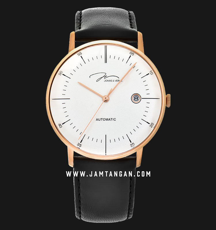 Jonas Verus Y01562-A0.PPWLB Minimalist Collection Automatic Man White Dial Black Leather Strap Machtwatch