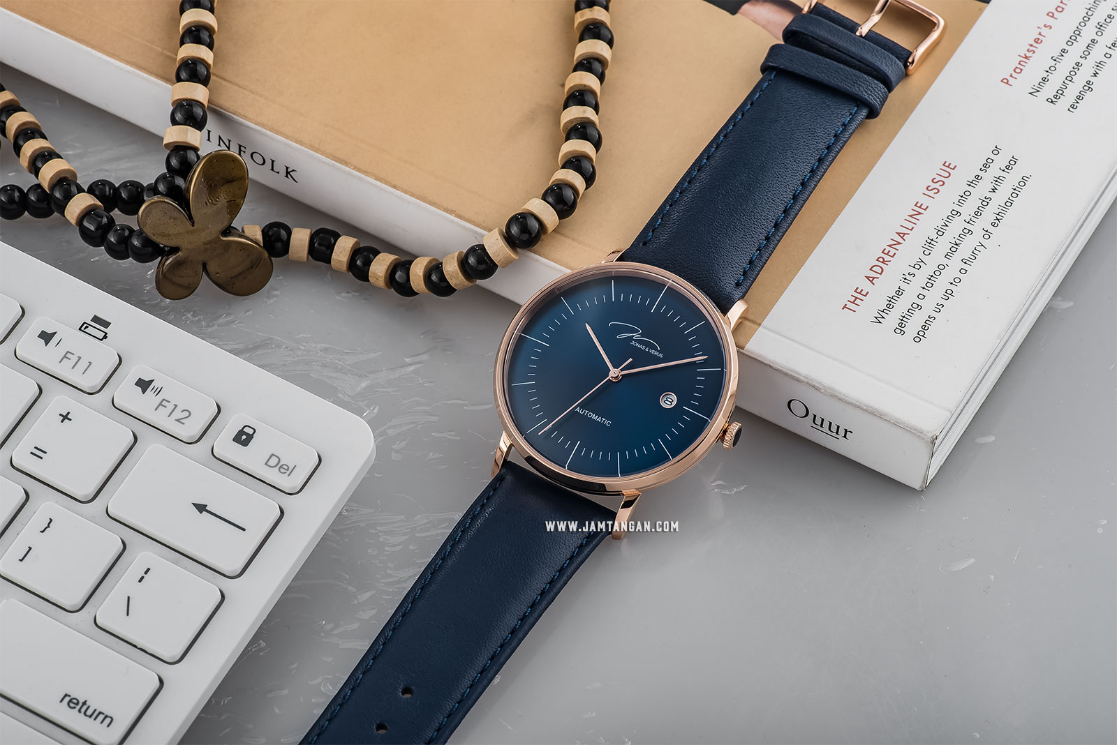 Jonas Verus Y01563-A0.PPLLL Minimalist Collection Automatic Man Blue Dial Blue Leather Strap Machtwatch