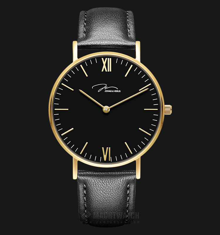 Jonas Verus Y01646-Q3.GGBLB Minimalist Collection Men Black Dial Black Leather Strap Machtwatch