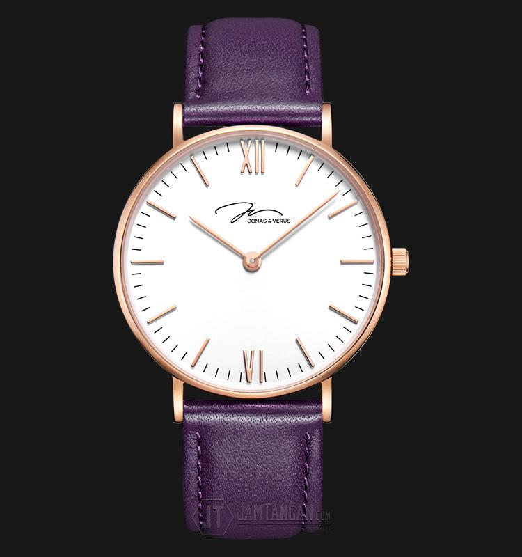 Jonas Verus Y01646-Q3.PPWLX Miyota Japan Quartz White Dial Purple Leather Strap Machtwatch